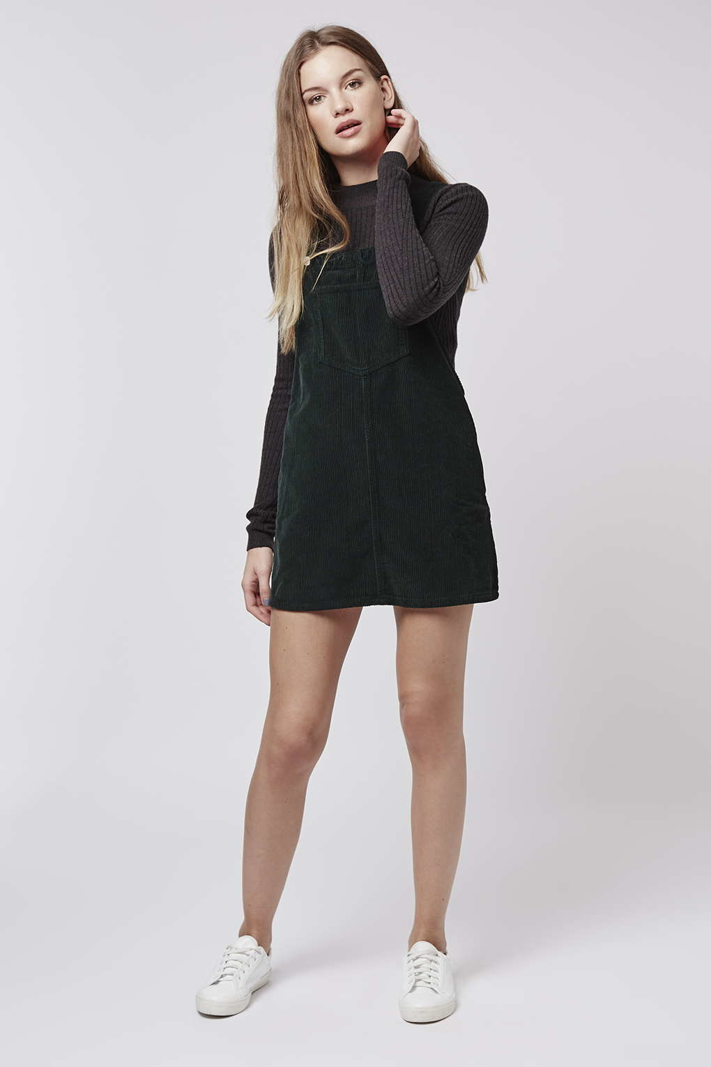 check out nice cheap 2019 professional TOPSHOP Petite Moto Cord Pinafore Dress in Emerald (Green ...