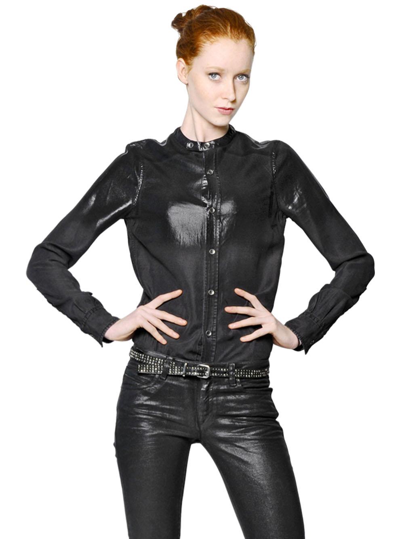 Diesel black gold Coated Lyocell Denim Shirt in Black