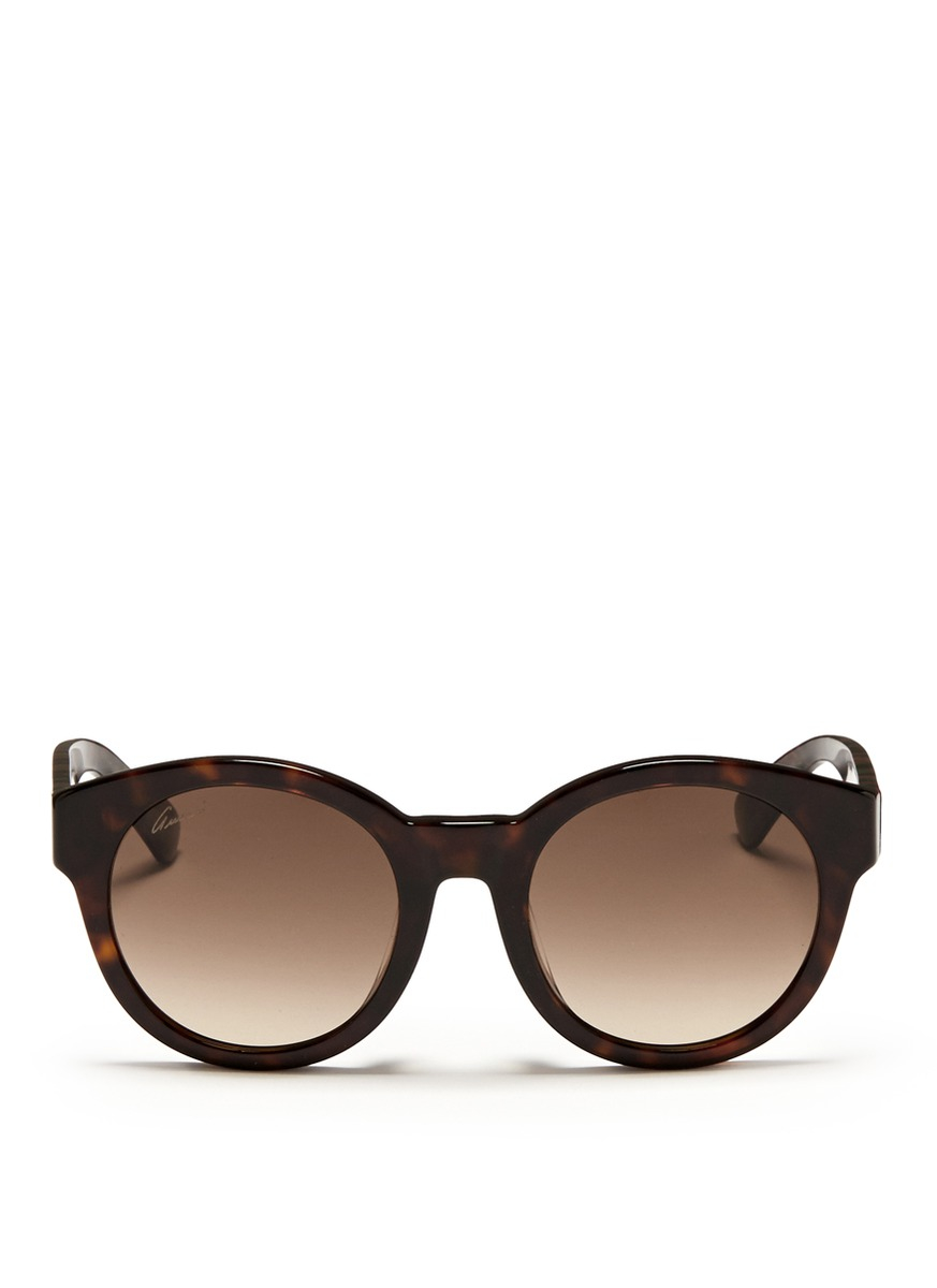 a5b91255c8 Gucci Confetti Inlay Temple Tortoiseshell Effect Acetate Sunglasses in Brown