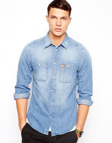 Replay Denim Shirt Barcelona Fc Collection In Blue For Men