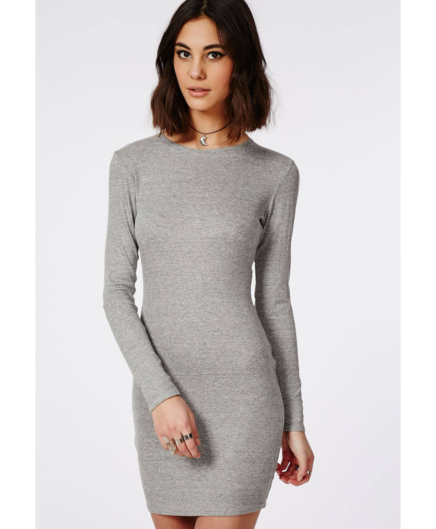 Grey Dress: Missguided Long Sleeve Ribbed Bodycon Dress Grey In Gray