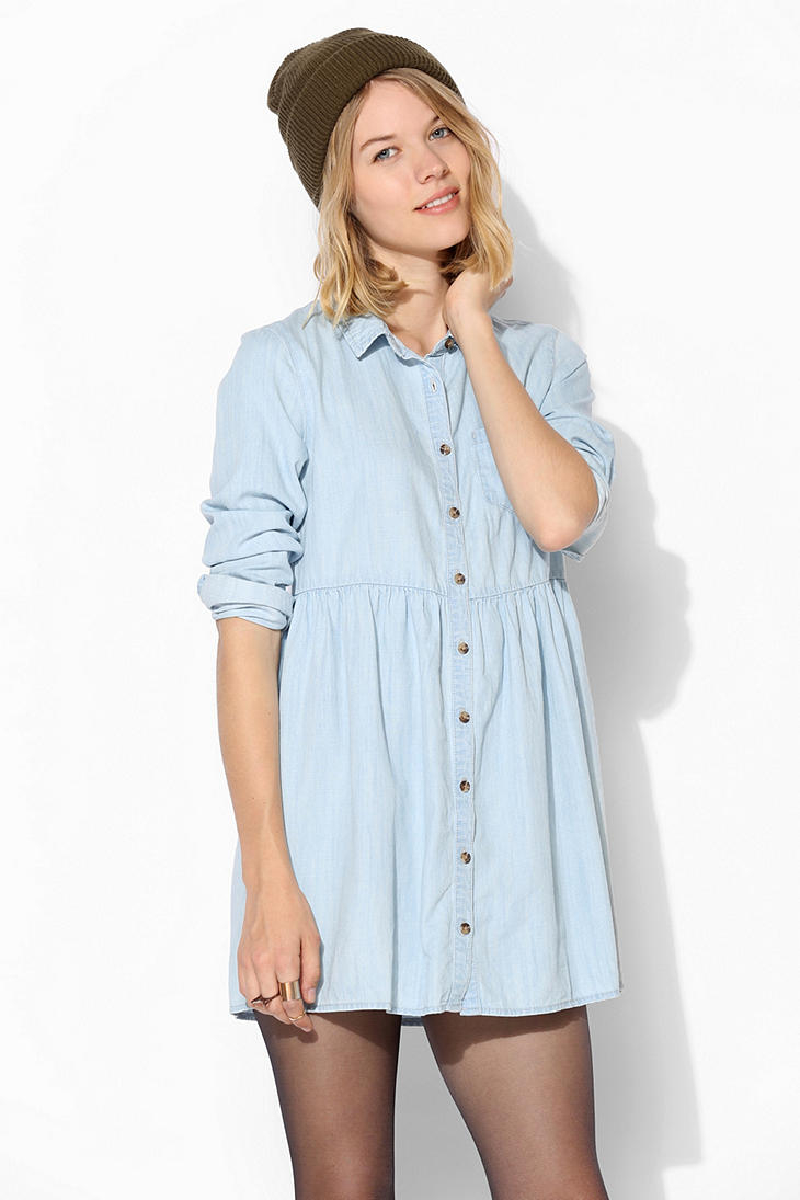 Lyst Urban Outfitters Bdg Chambray Babydoll Shirtdress In Blue