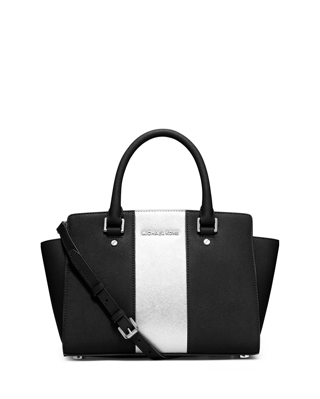 0c19d6d512b99 ... shop lyst michael michael kors selma center stripe satchel bag in black  457cf cd7a7