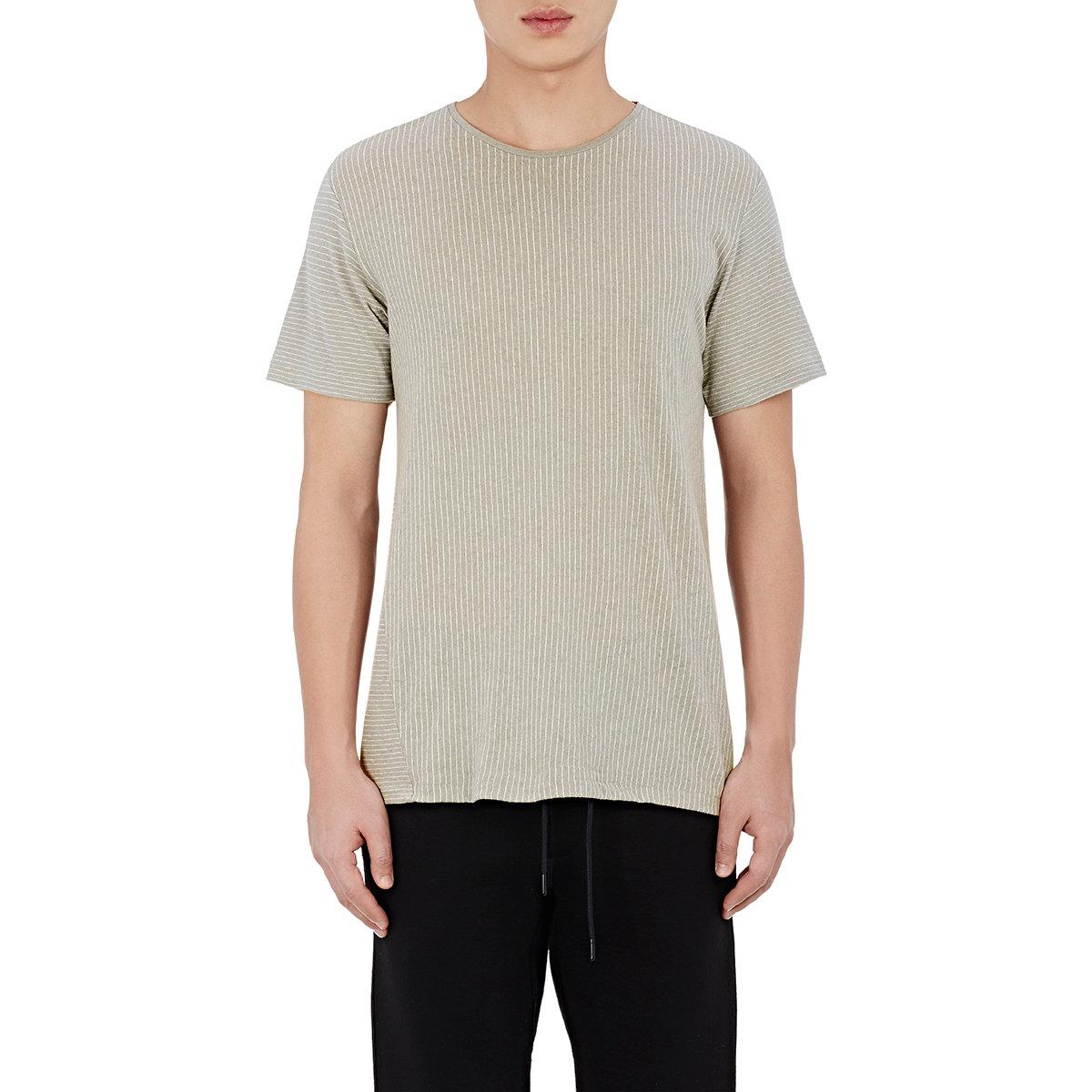 Rag bone men 39 s pinstriped jersey t shirt in gray for men for Rag bone shirt