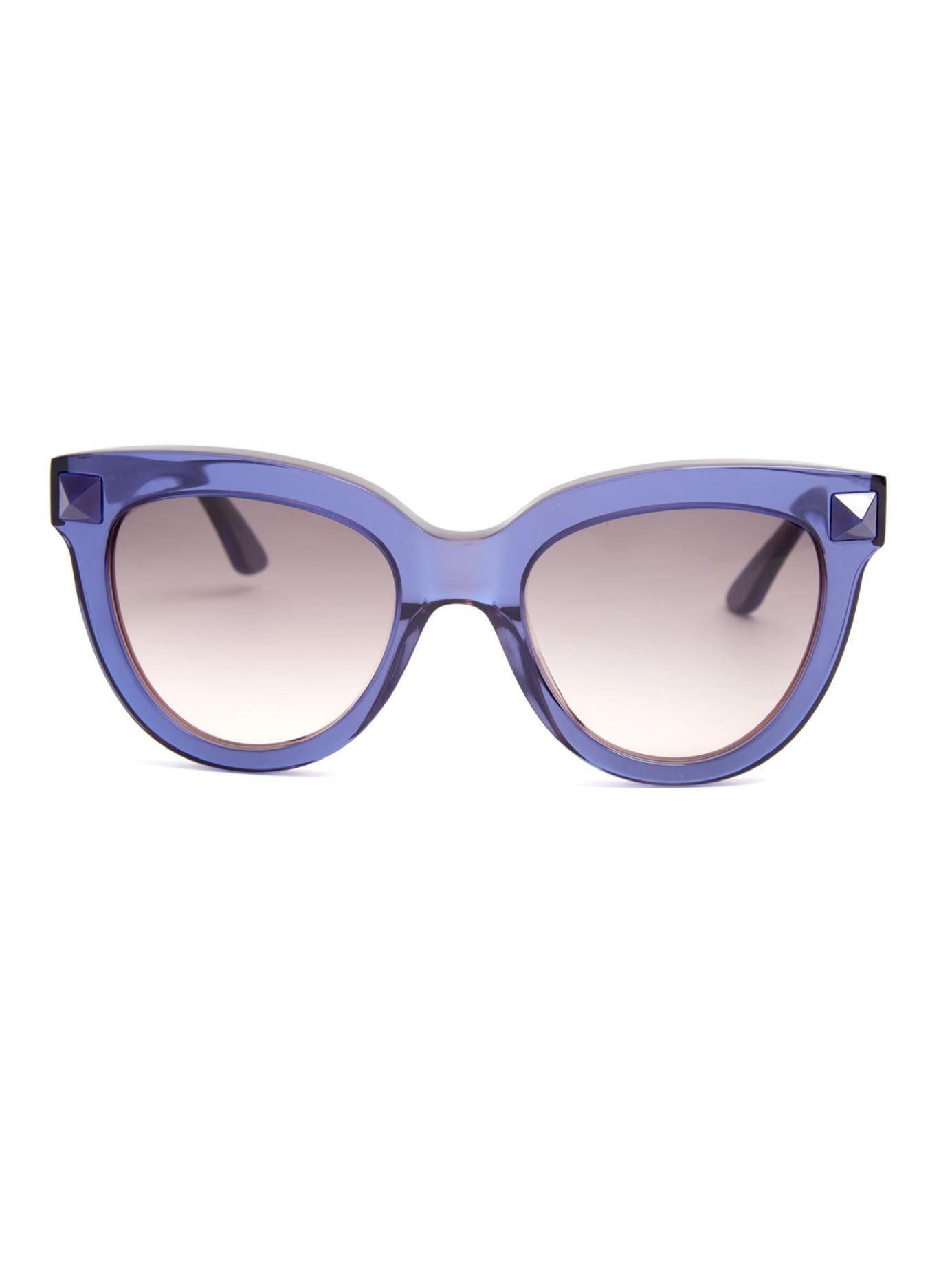 3d0f88265db8 Valentino Rockstud Cat-eye Frame Sunglasses in Blue - Lyst