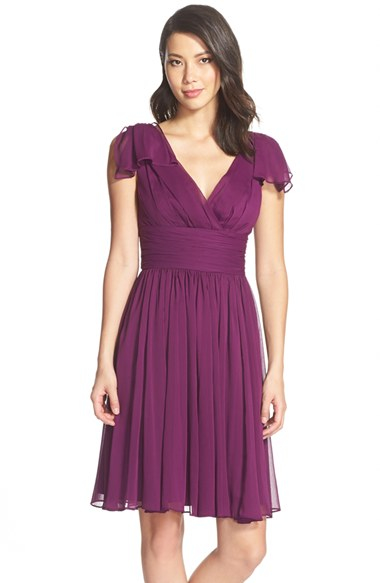 Lyst Vera Wang Fit And Flare Chiffon Dress In Purple