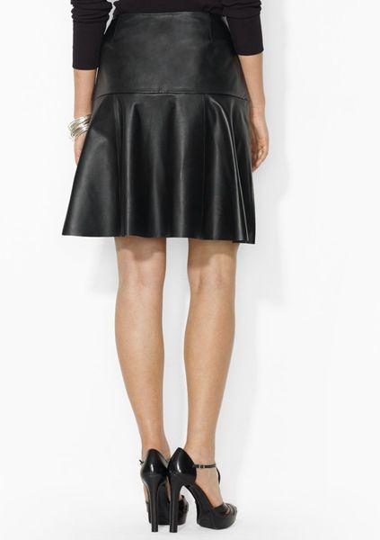 Ralph Lauren Lauren Leather Flare Skirt In Black Lyst