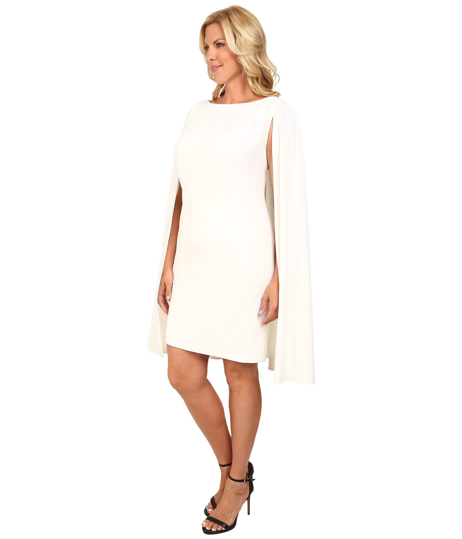 ea91c876aa9 Adrianna Papell Plus Size Structured Cape Sheath Dress in White - Lyst