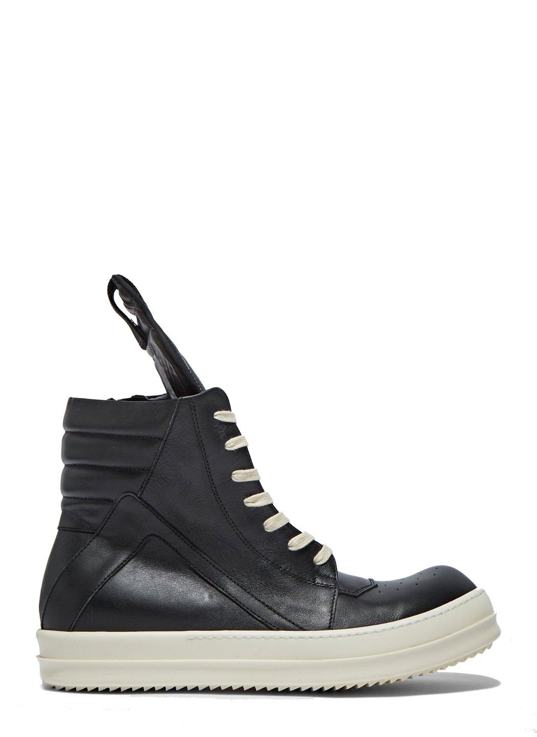 lyst rick owens men 39 s leather geobasket sneakers in black in black for men. Black Bedroom Furniture Sets. Home Design Ideas