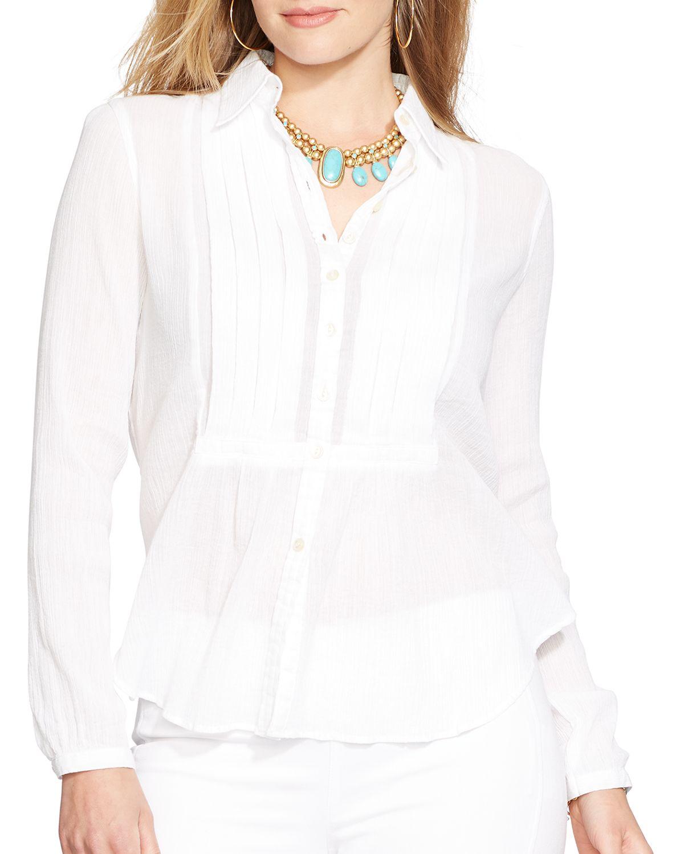 5fbc860197d Plus Size White Gauze Shirts