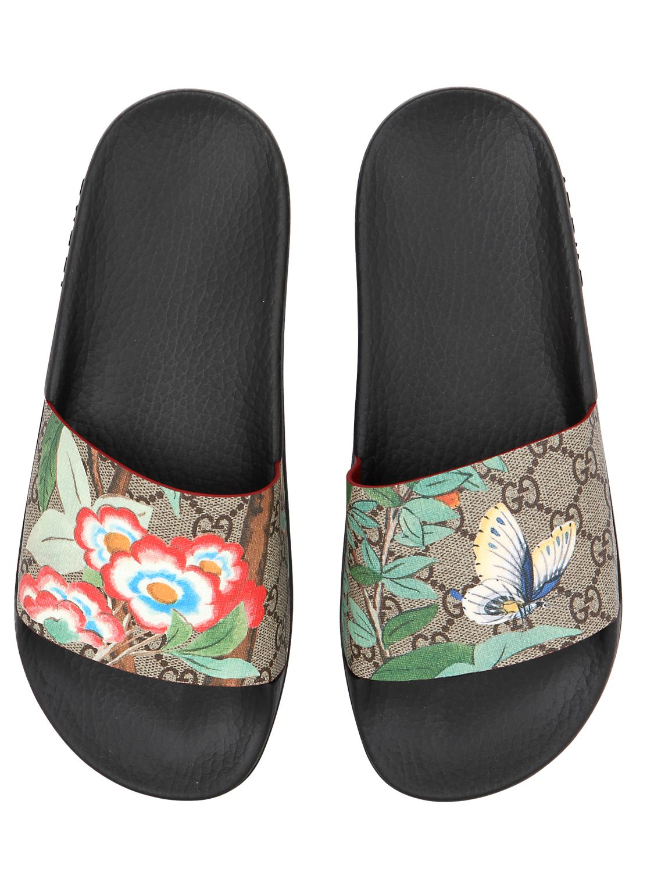 987de118883f Lyst - Gucci 20mm Pursuit Gg Supreme Slide Sandals