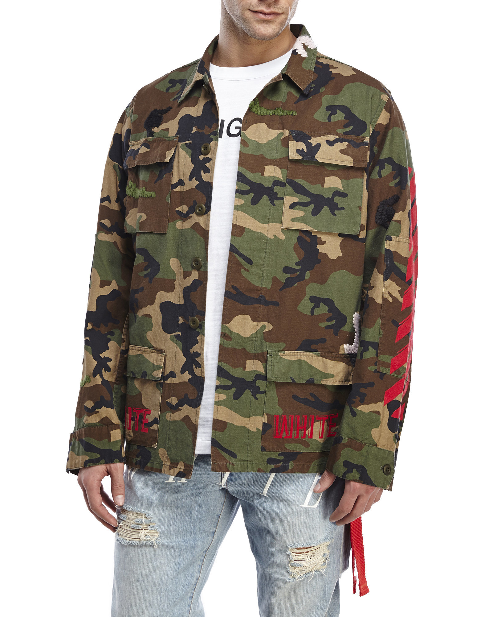 73391ff891c65 Off-White c/o Virgil Abloh Patch Camouflage-Print Cotton Jacket in ...