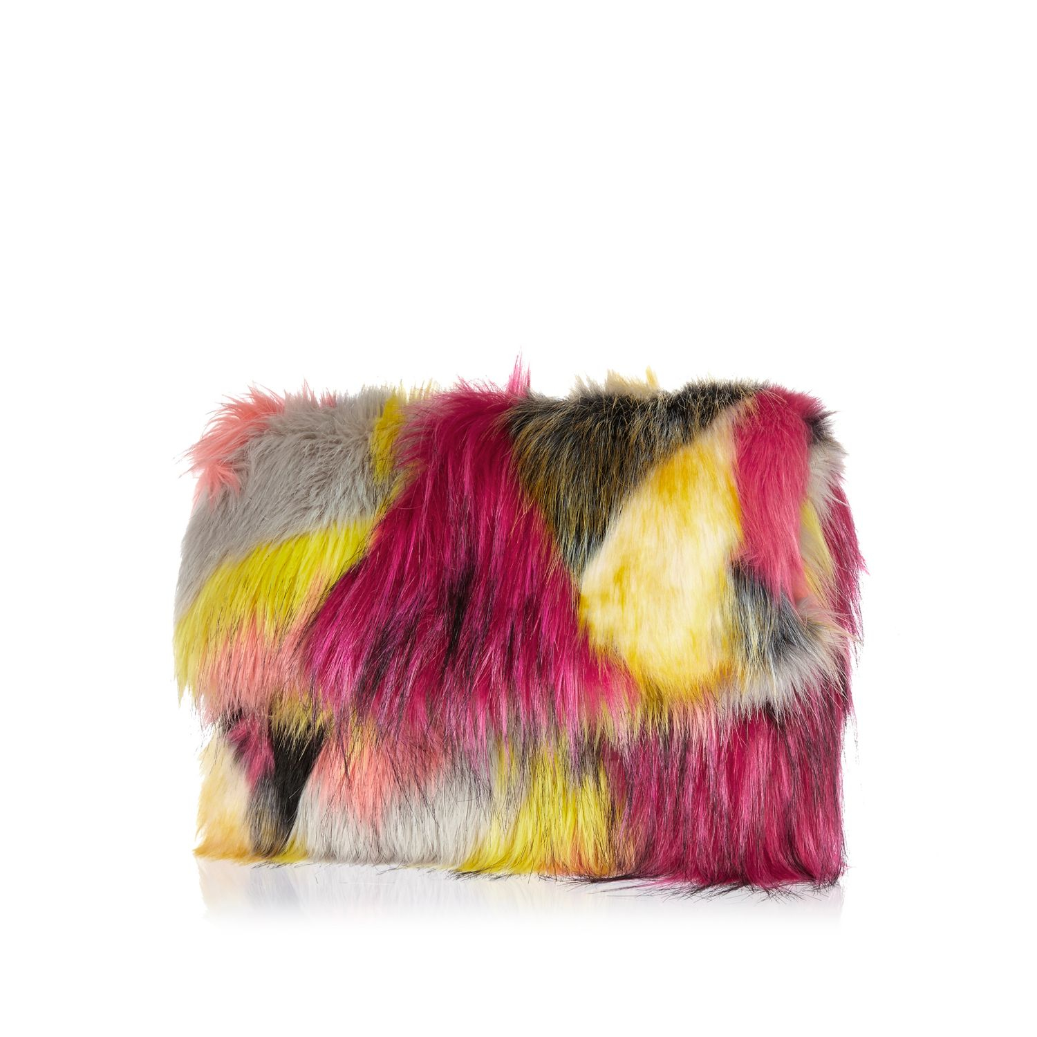 c30125ab7b1d River Island Pink Faux Fur Clutch Bag in Pink - Lyst