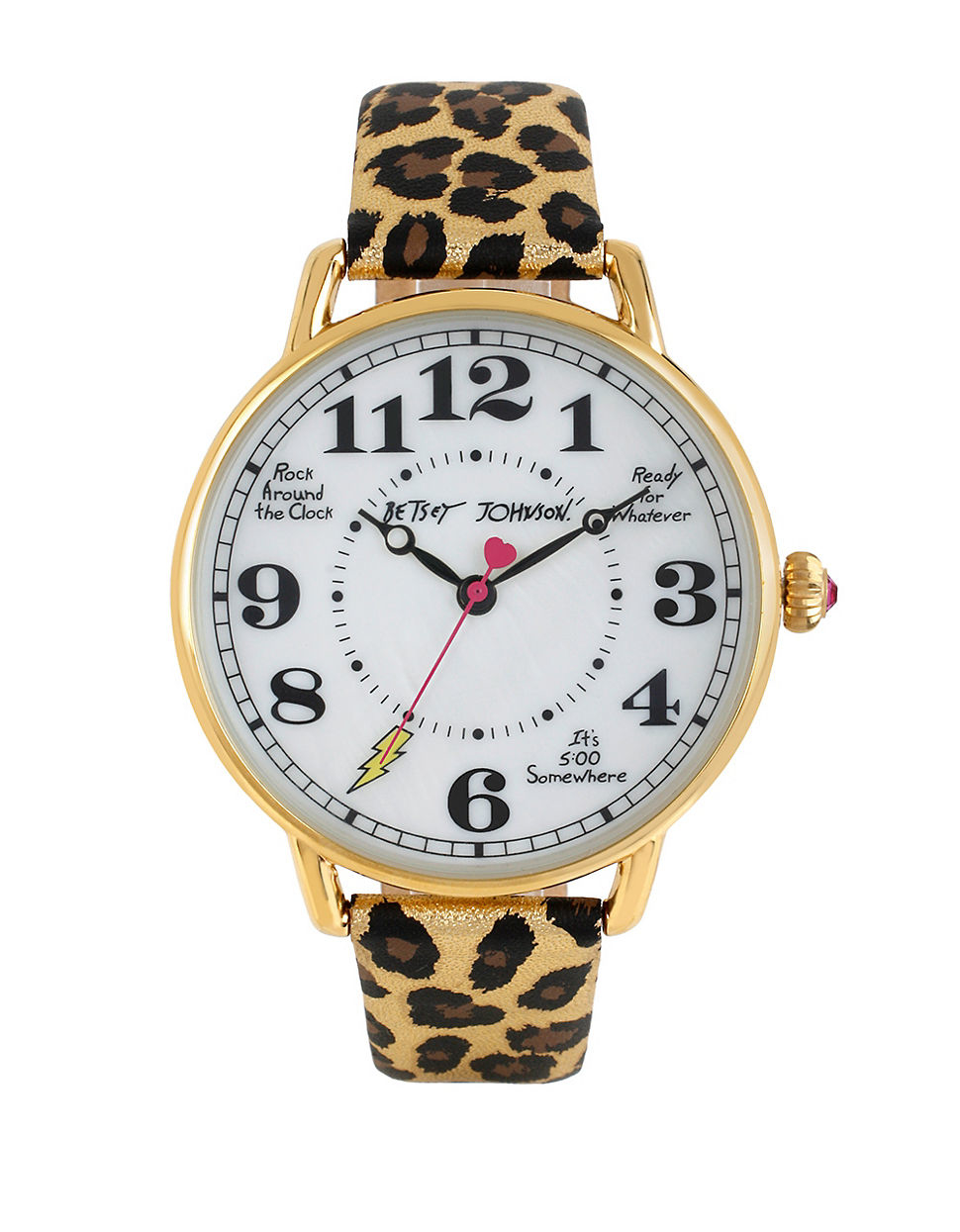 Betsey Johnson Vintage Dial And Metallic Leopard Leather