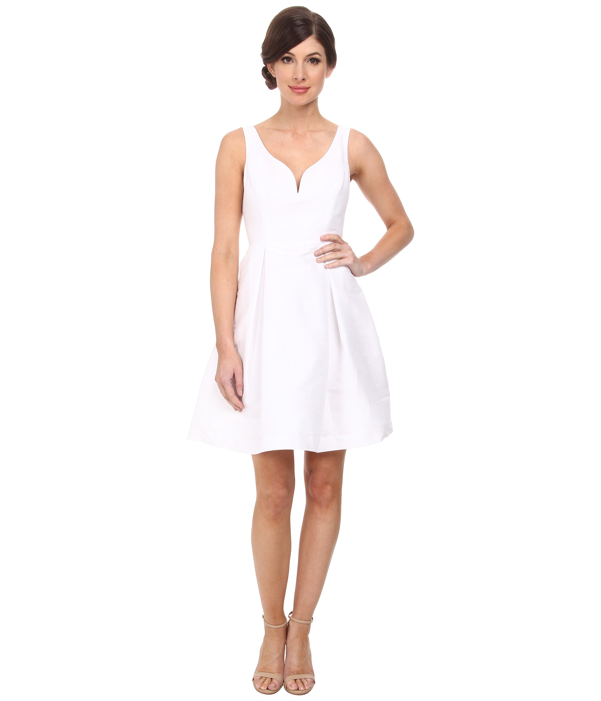 Lyst donna morgan ruby v neck bodice shantung dress in white gallery ombrellifo Image collections