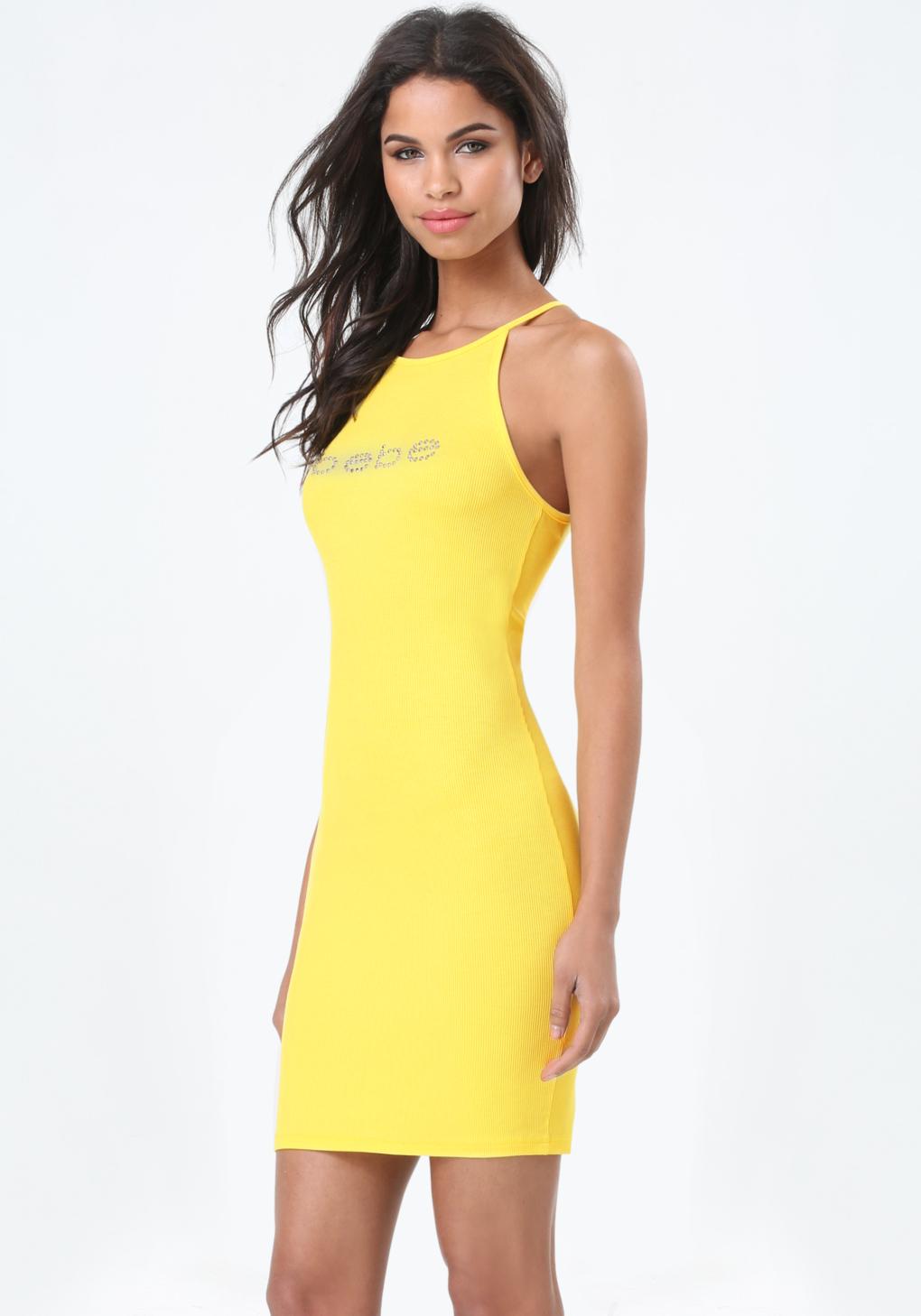Bebe Logo Tank Dress In Yellow Lyst