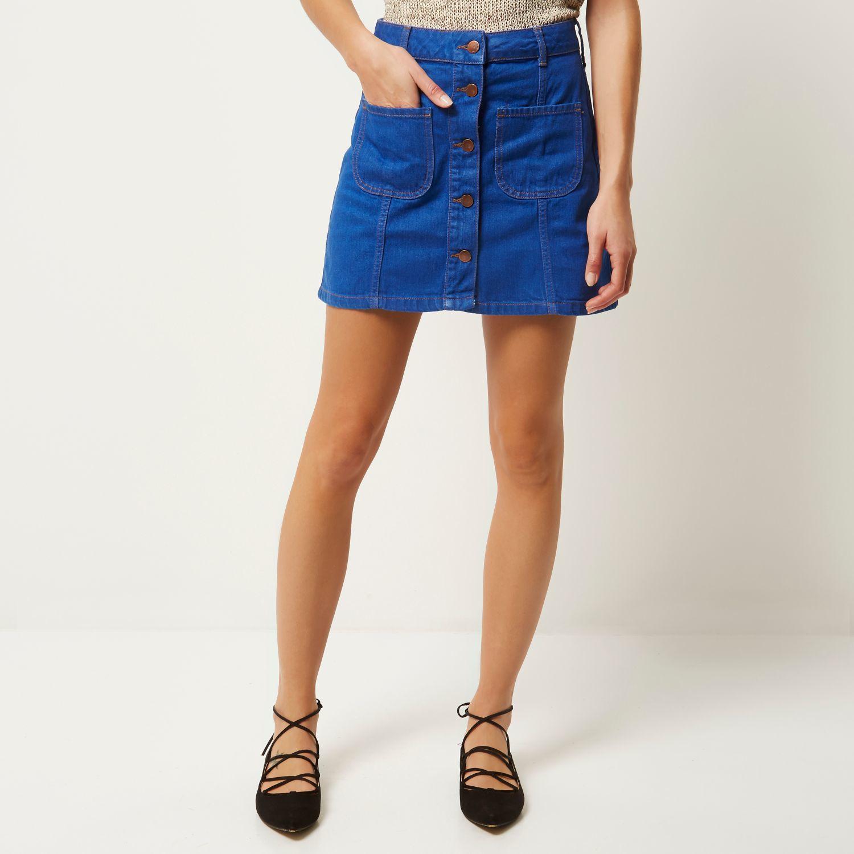 river island denim button up a line skirt in blue lyst