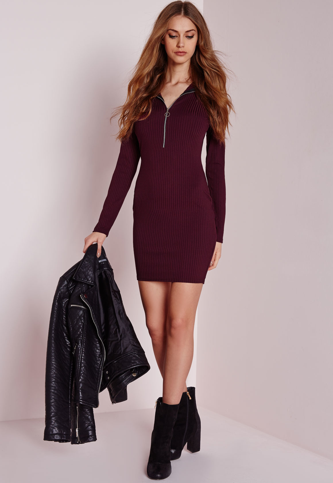 Lyst Missguided Long Sleeve Ribbed Zip Neck Bodycon