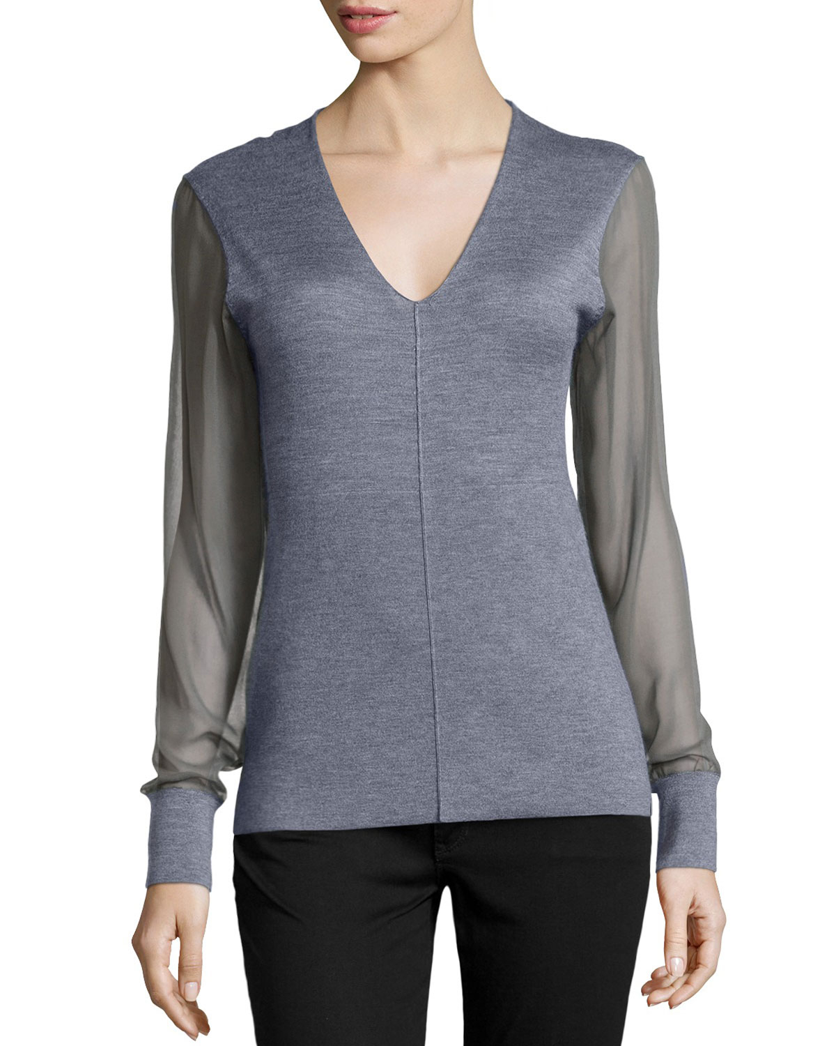 Reed krakoff Chiffon-sleeve V-neck Sweater in Gray | Lyst