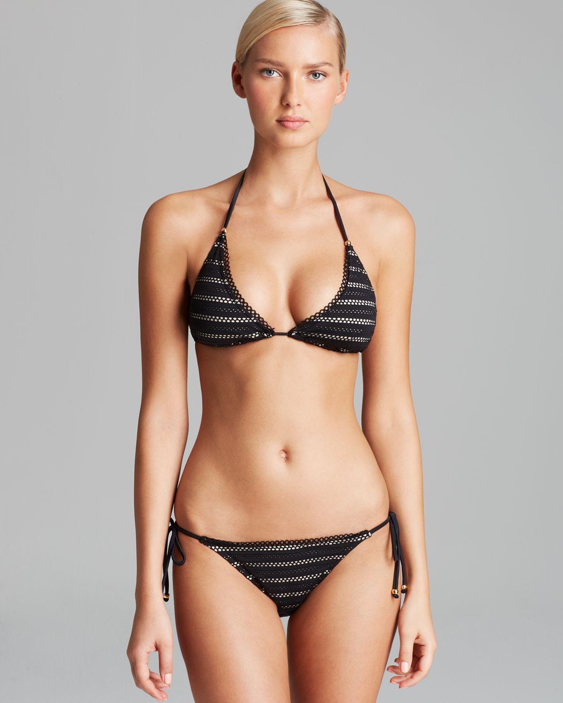 Lyst Pilyq Curvy Triangle String Bikini Top In Black