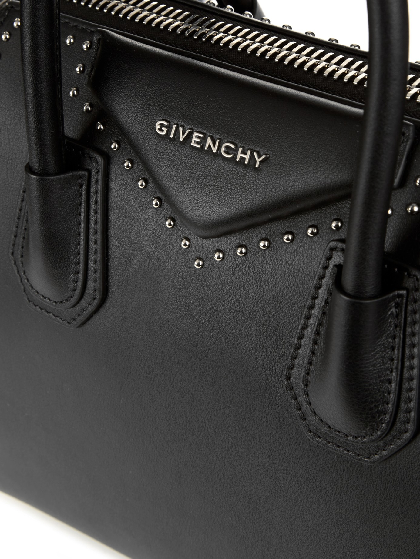 3c3268e6e165 Lyst - Givenchy Antigona Small Studded Leather Tote in Black