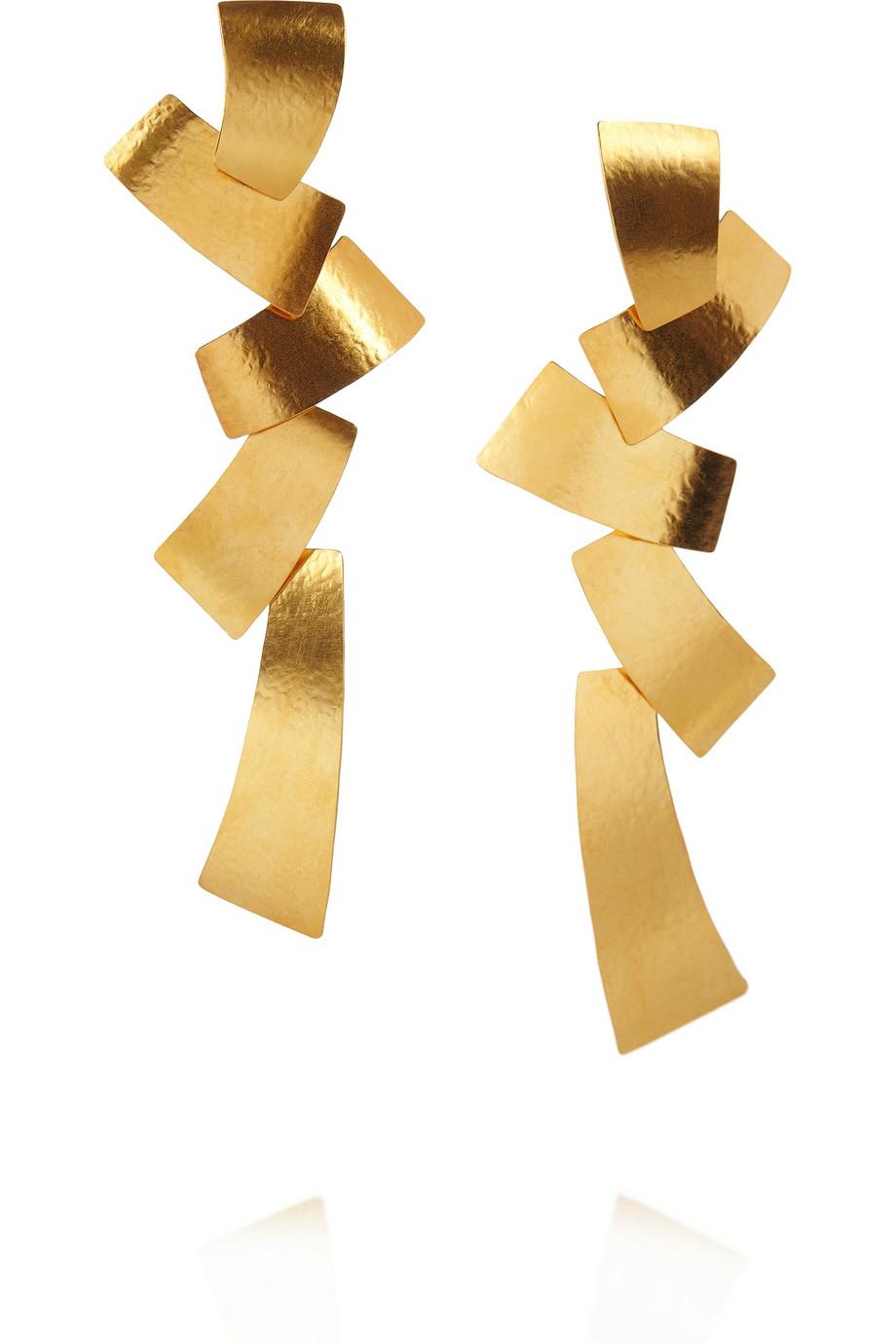 herve van der straeten hammered goldplated tiered clip earrings in gold lyst. Black Bedroom Furniture Sets. Home Design Ideas