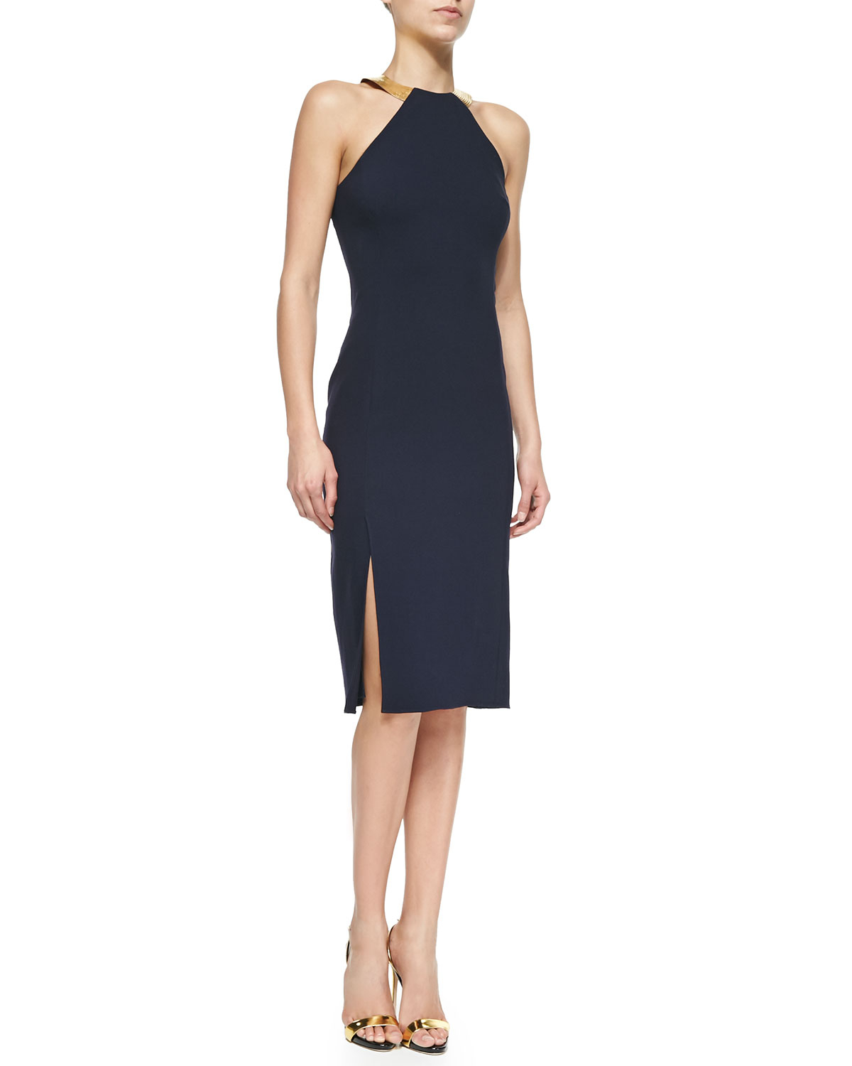 ralph lauren collection silvia embellished halter sheath dress in blue navy lyst. Black Bedroom Furniture Sets. Home Design Ideas