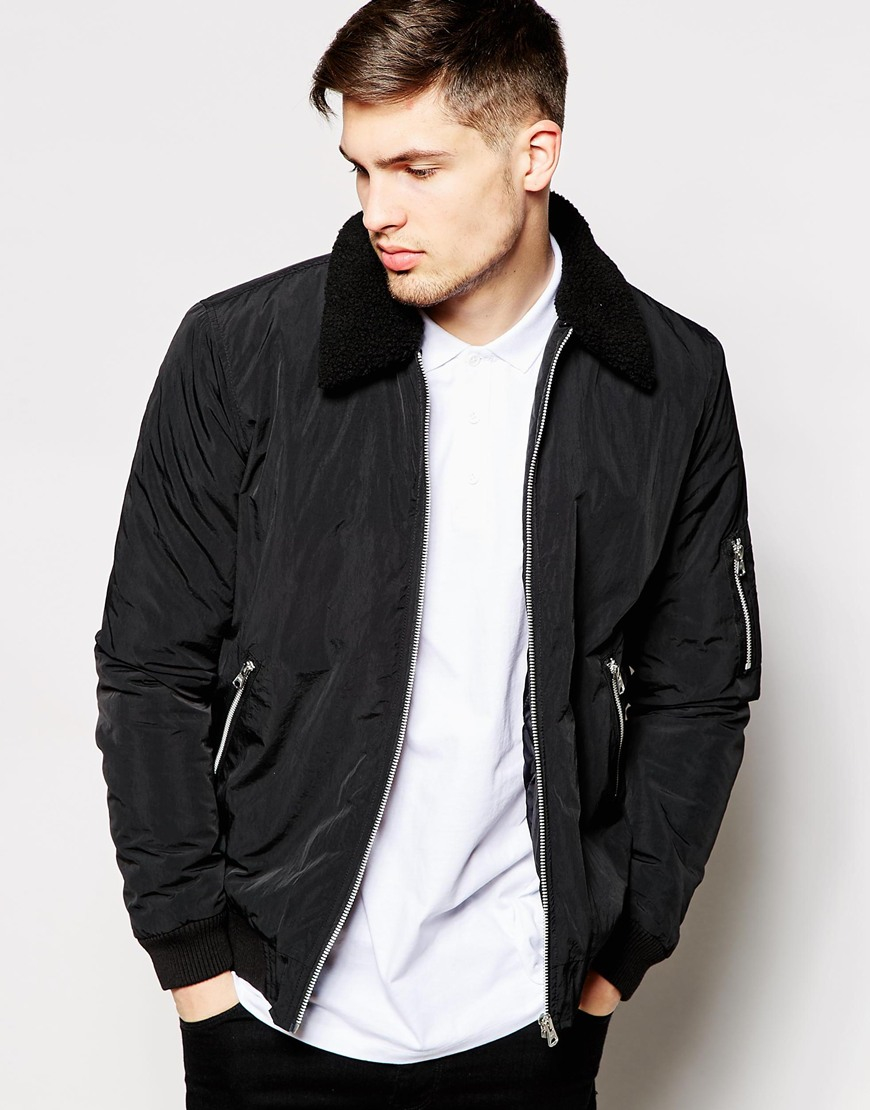 Asos Harrington Jacket With Removable Faux-shearling Collar in