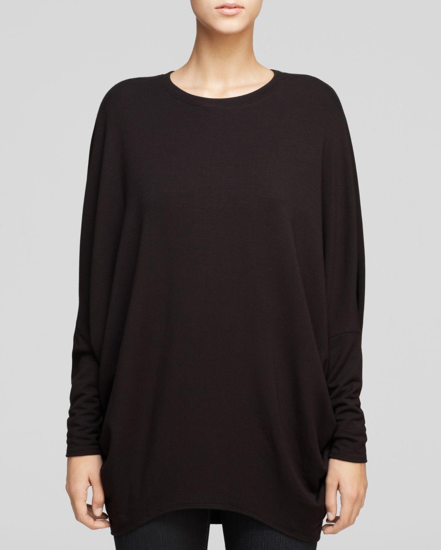 Helmut lang sweatshirt villous round hem in black lyst for Sweatshirt kleid lang
