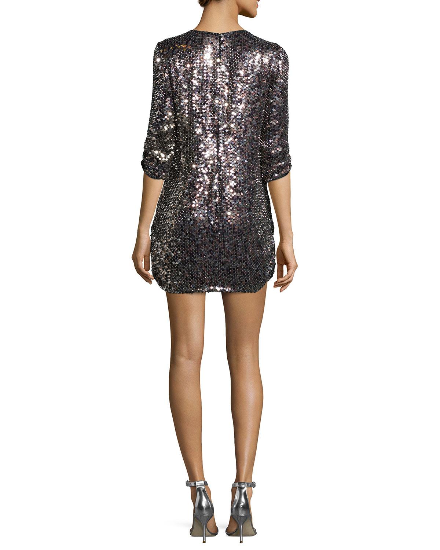 dee66293 Parker Black Petra 3/4-sleeve Sequined Shift Dress in Metallic - Lyst
