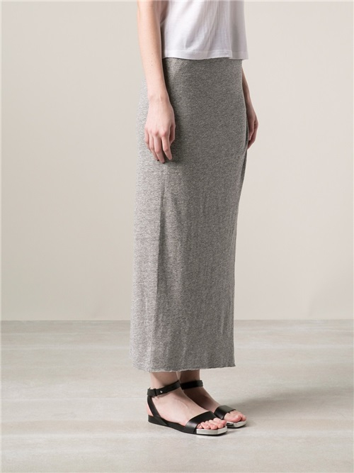 stateside knotted maxi skirt in gray lyst
