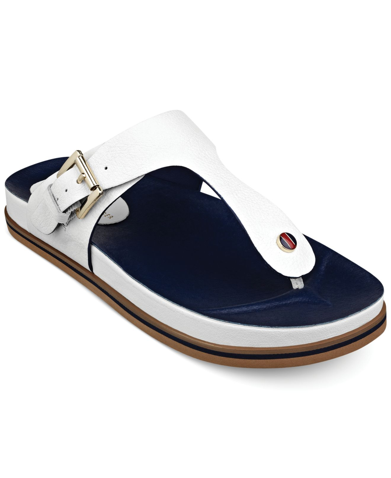92895f25362a Lyst - Tommy Hilfiger Womens Forest Footbed Thong Sandals in White