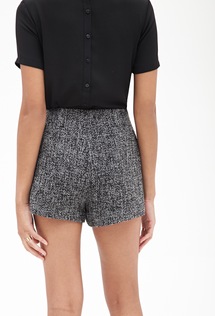 Lyst Forever 21 High Waisted Tweed Shorts In Gray