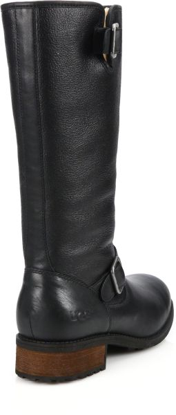 Ugg Chancery Sheepskin Amp Leather Boots In Black Lyst