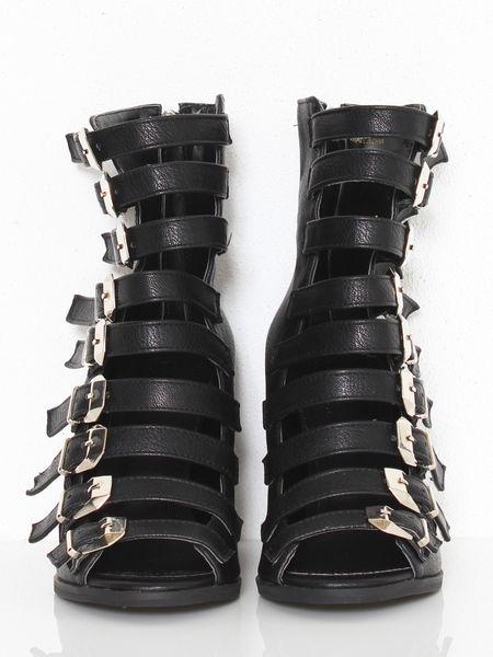 Glassworks Buckle Up Gladiator Wedge Sandals In Black