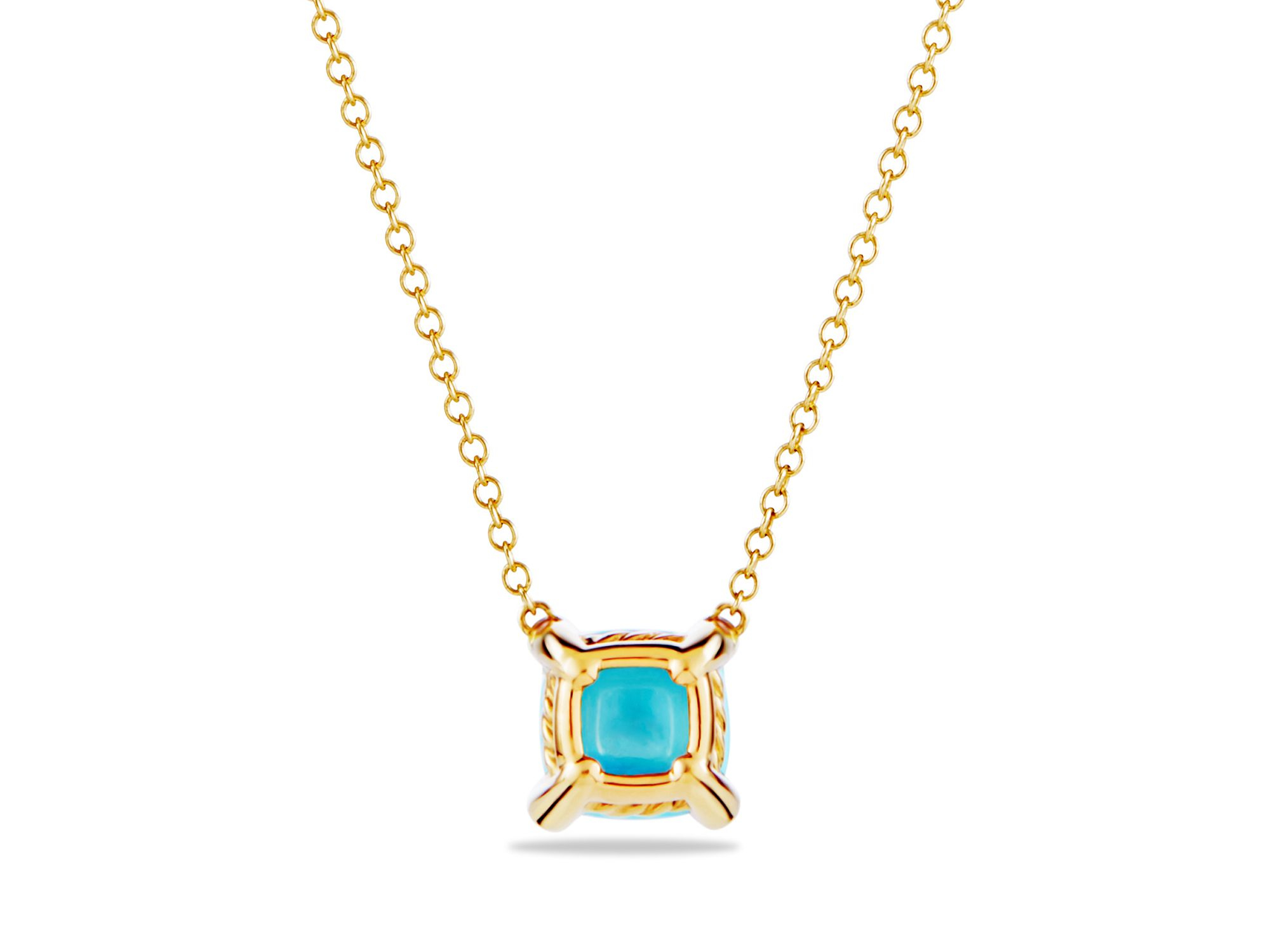 David Yurman 18kt yellow gold Châtelaine turquoise and diamond pendant necklace - Metallic c65oNm