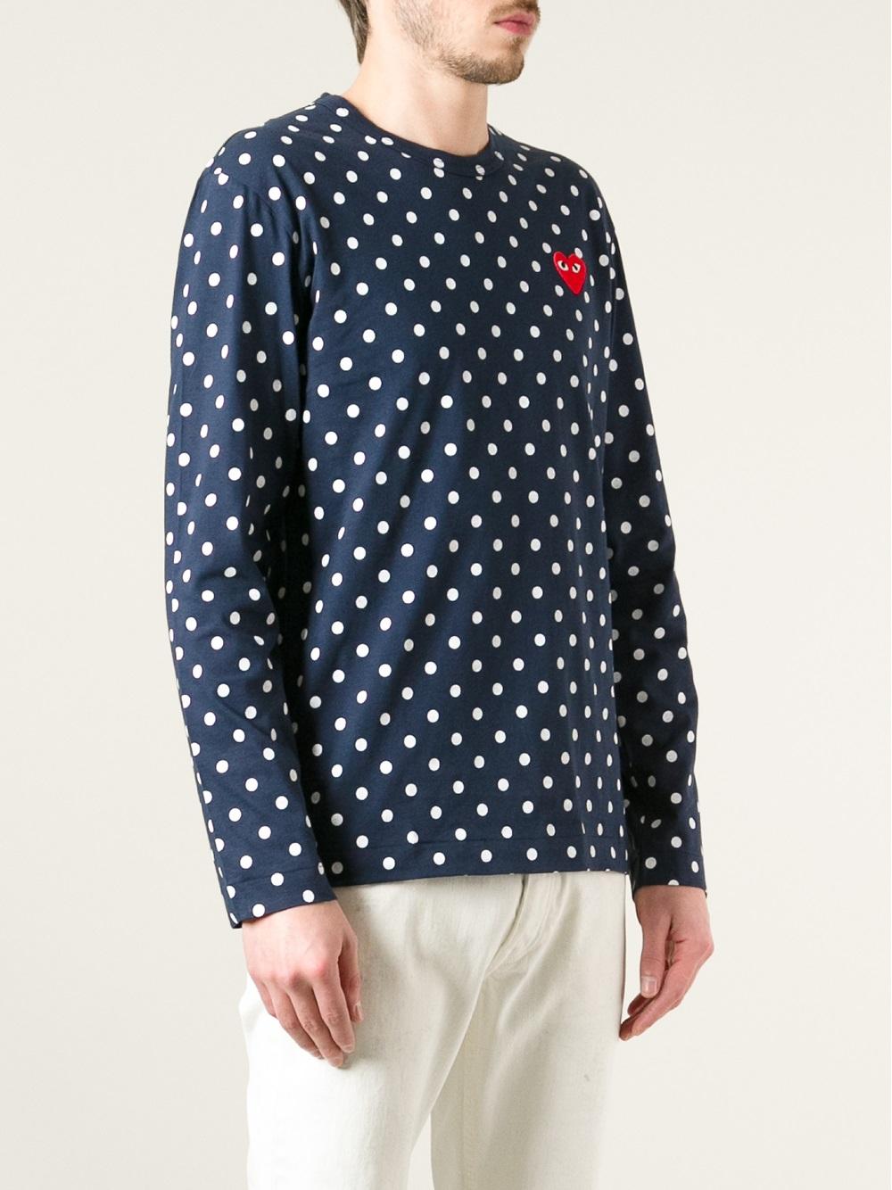 798692836704 Comme des Garçons Polka Dot Long Sleeve T-Shirt in Blue for Men - Lyst
