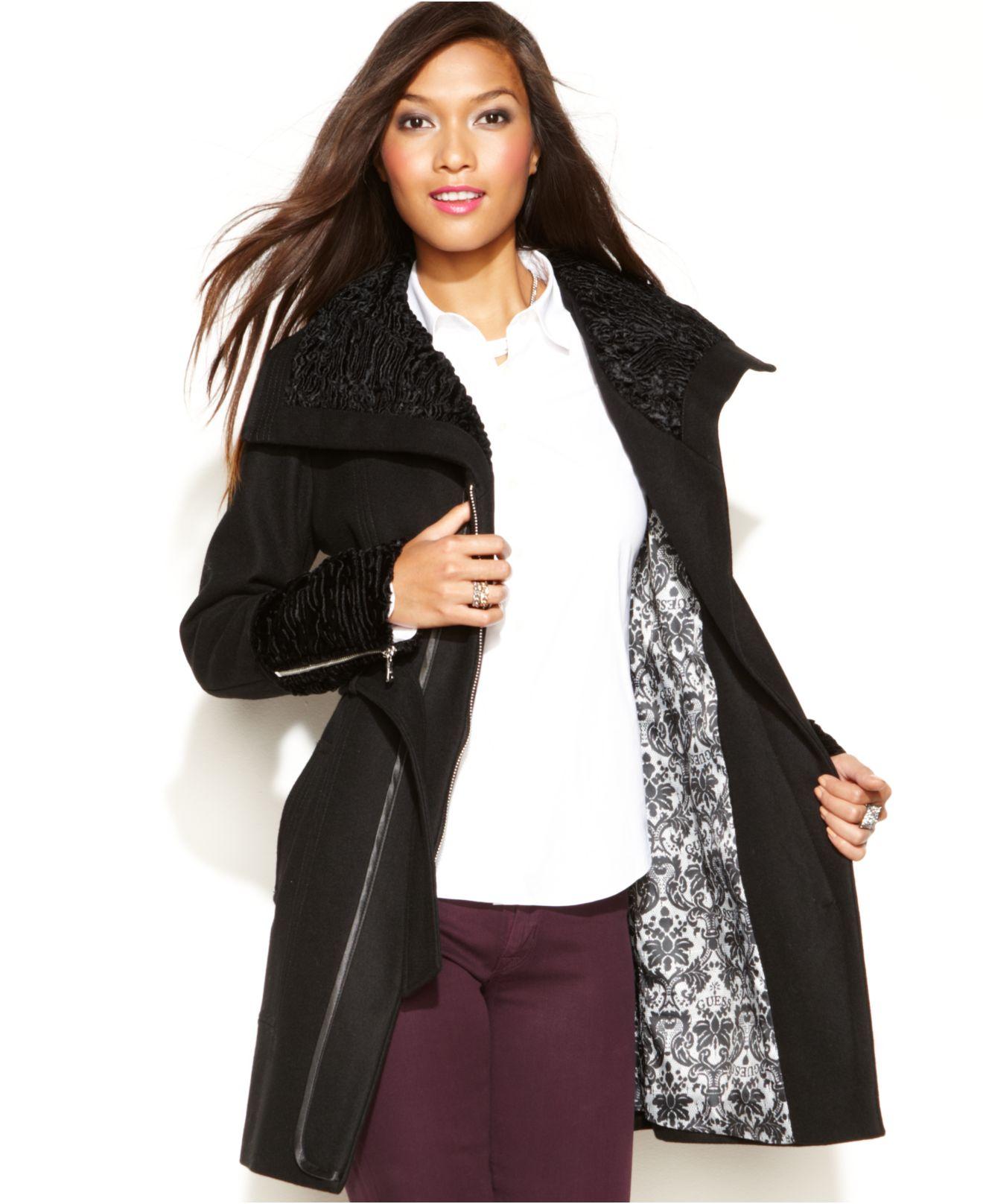 Guess Wool-Blend Faux-Fur-Trim Belted Coat in Black | Lyst