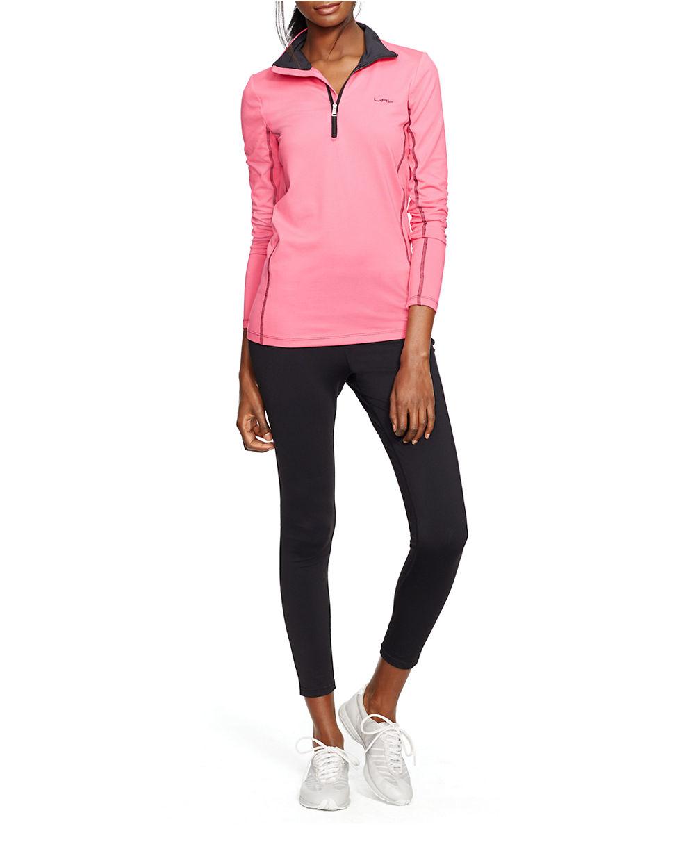 lauren by ralph lauren jersey mockneck pullover in pink lyst. Black Bedroom Furniture Sets. Home Design Ideas
