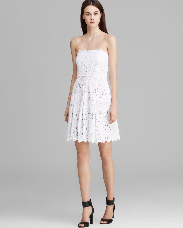 Laundry by shelli segal Dress Strapless Eyelet in White - Lyst