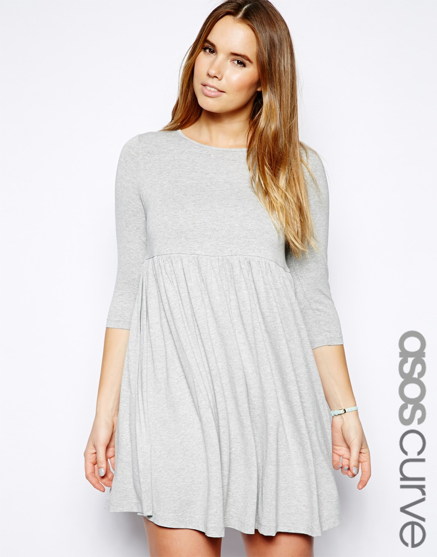 fe752c52a45 ASOS Smock Dress in Jersey in White - Lyst