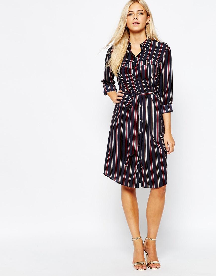 edcf08ef21 Oasis Belted Stripe Shirt Dress in Purple - Lyst