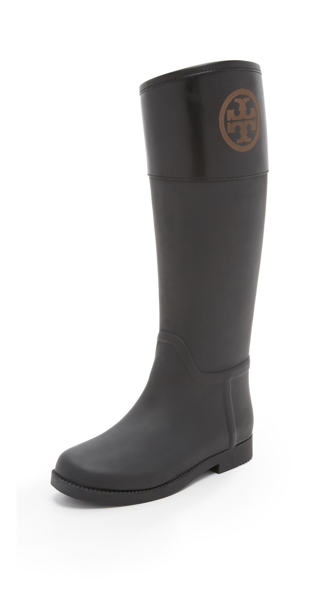 Tory burch Classic Rain Boots in Black | Lyst