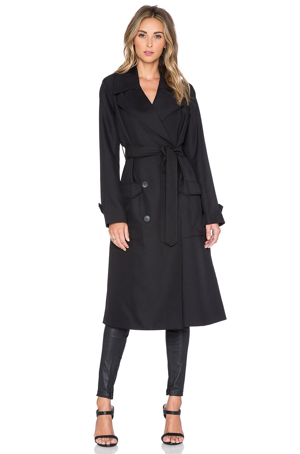 lyst t by alexander wang sleek trench coat in black. Black Bedroom Furniture Sets. Home Design Ideas