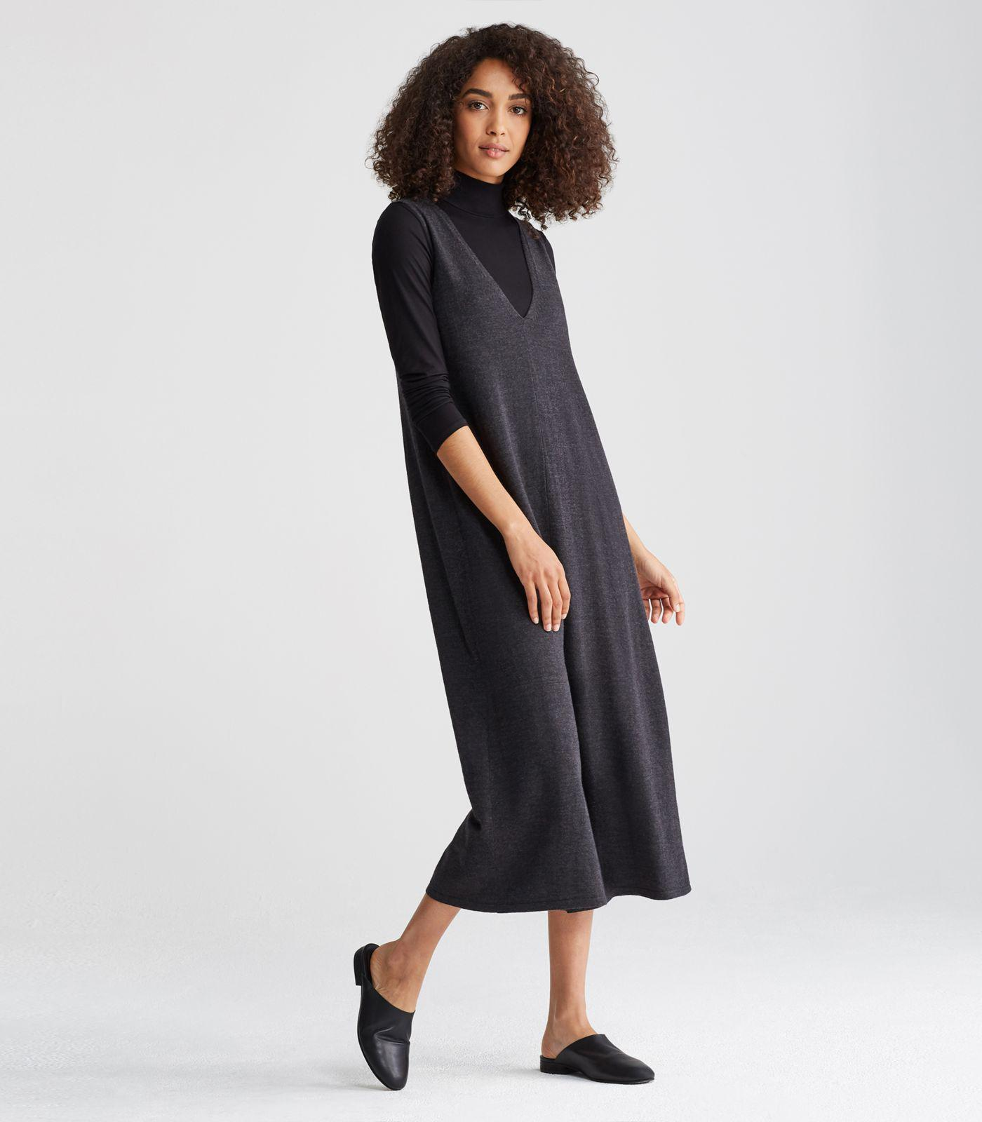 ae4d92814194 Eileen Fisher Merino Jersey V-neck Cropped Jumpsuit in Black - Lyst