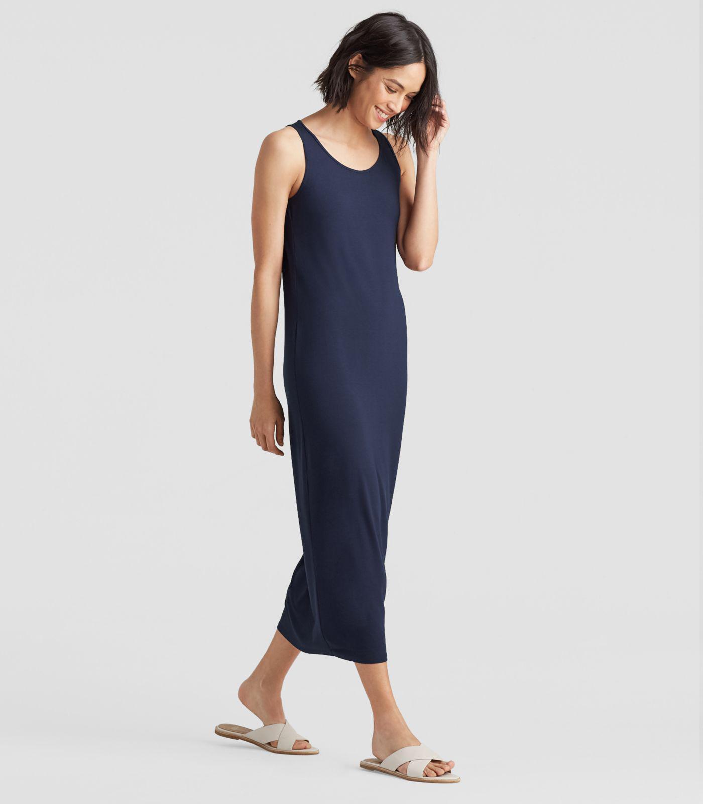 8612d867f3a4 Lyst - Eileen Fisher System Viscose Jersey Tank Dress in Blue