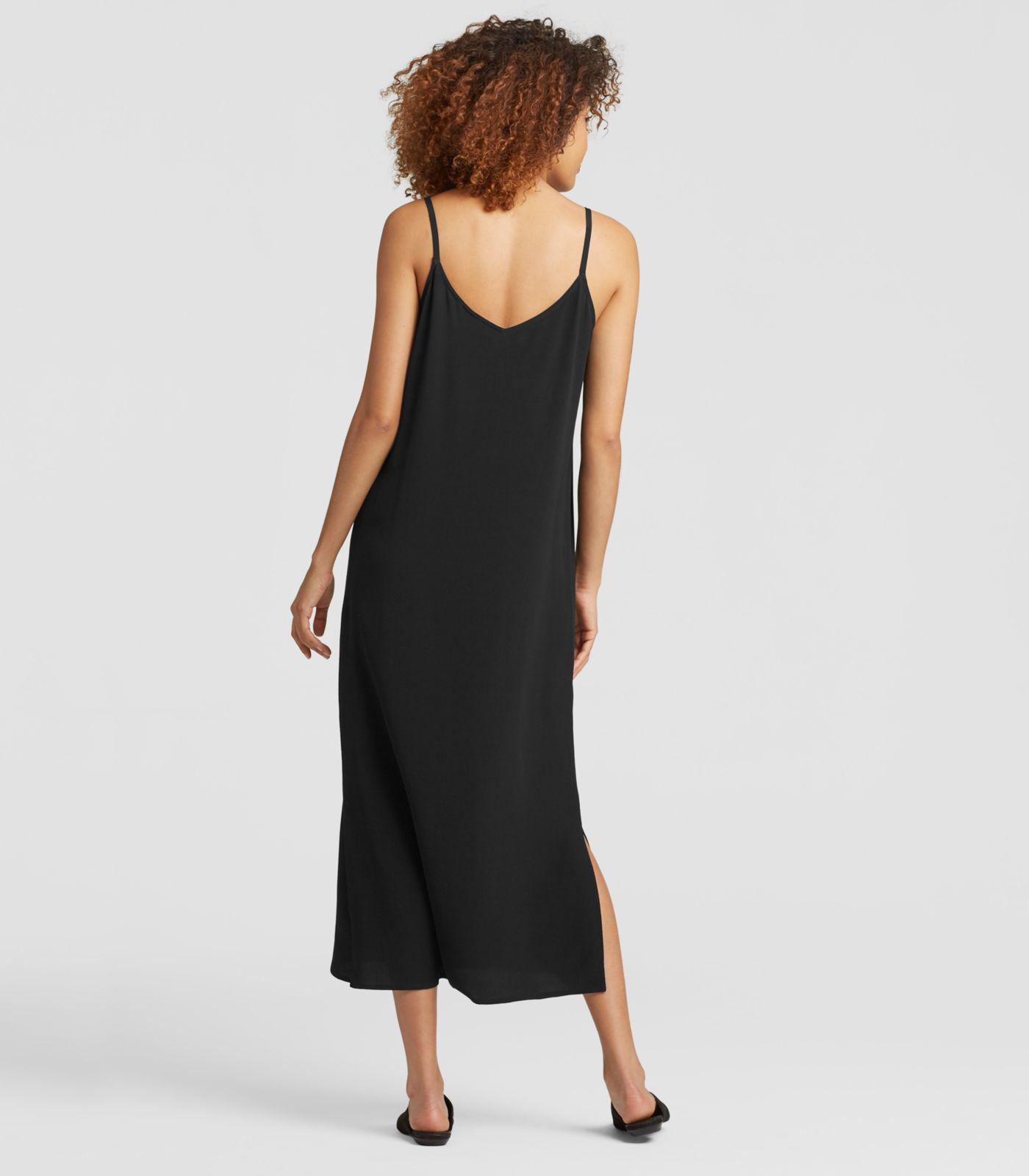 257f8981e0fea Eileen Fisher - Black Viscose Crepe Slip Dress - Lyst. View fullscreen