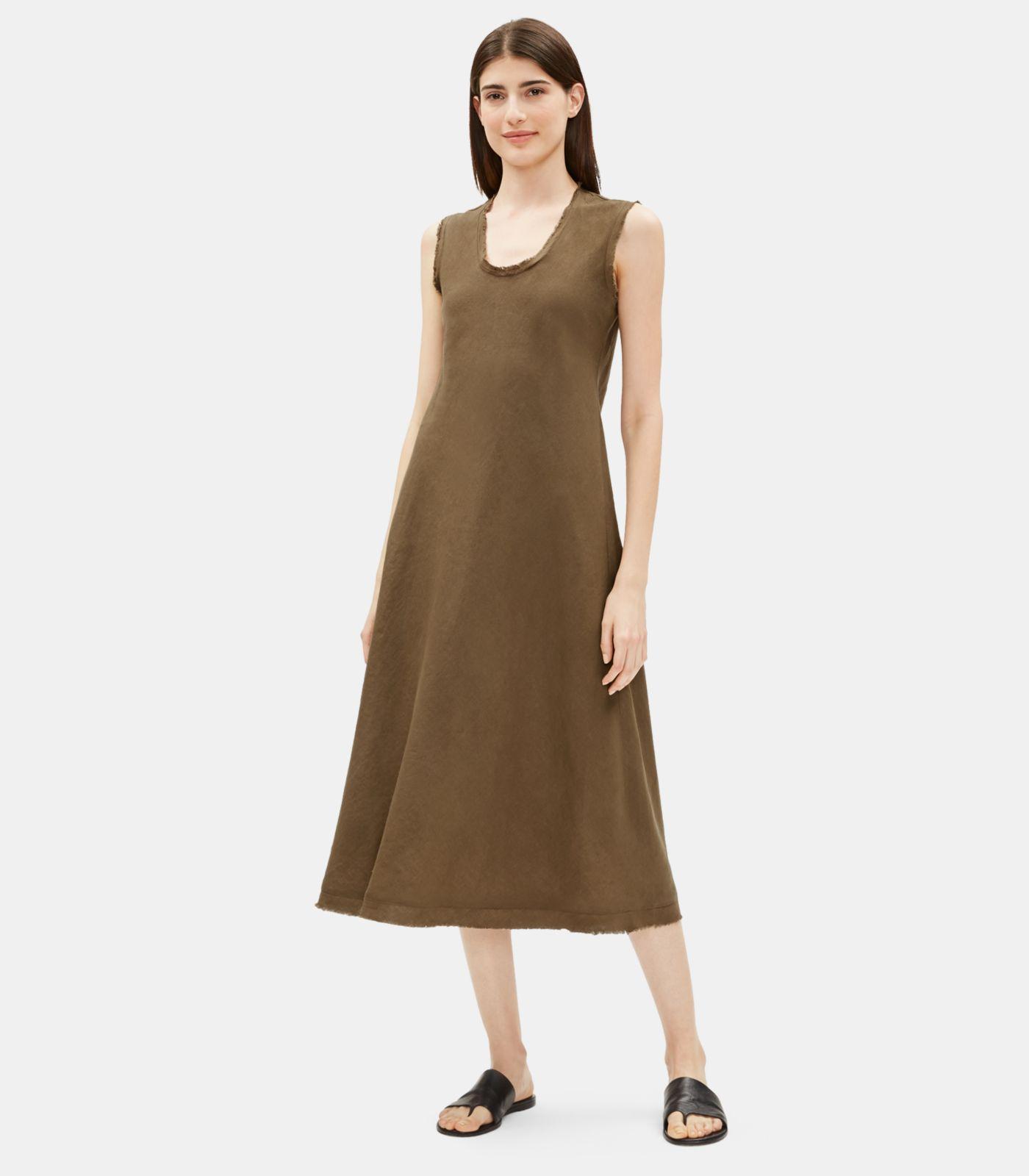 d312b7ff50 Eileen Fisher. Women s Organic Handkerchief Linen Raw-edge Dress