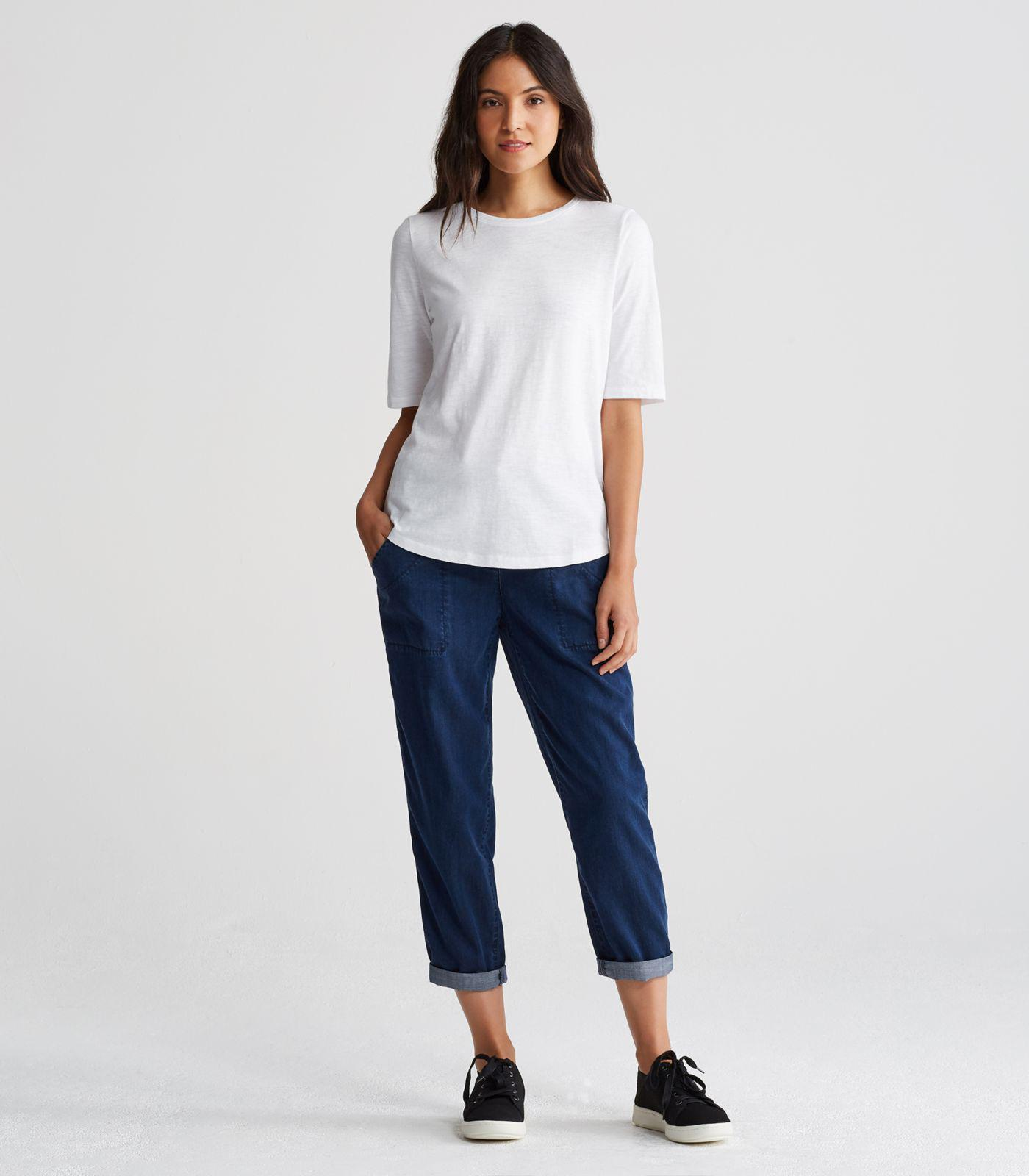Eileen fisher system organic cotton jersey slub elbow for Eileen fisher organic cotton t shirt
