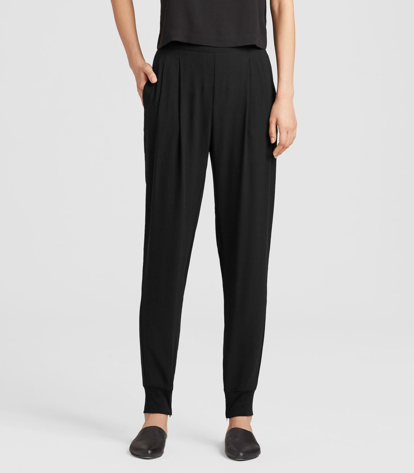 10db0b41a2e Eileen Fisher - Black Silk Georgette Crepe Slouchy Pant With Cuffs - Lyst.  View fullscreen